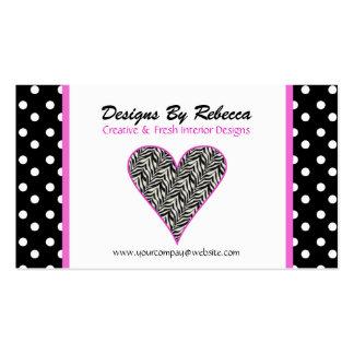 Pink Trim Zebra Print Heart Business Card