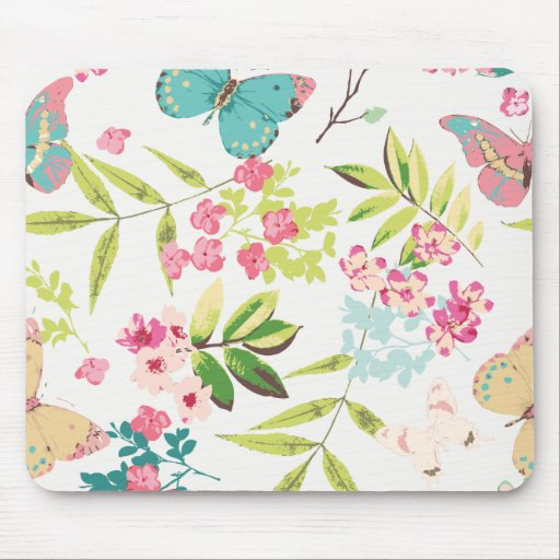 Pink Tropical Butterfly Floral Girly Flower Print Mouse Pad