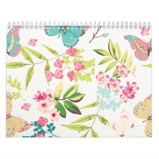 Pink Tropical Butterfly Floral Girly Flower Print Wall Calendars