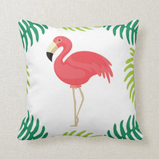 Pink Tropical Flamingo Throw Pillow