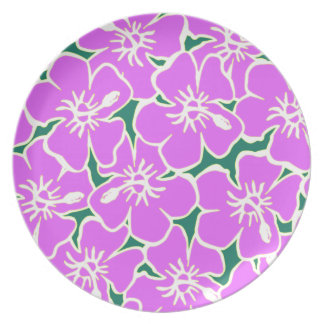 Pink Tropical Flower Pattern Plate