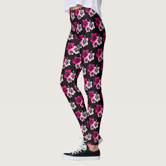 Pink Tropical Flowers Leggings