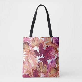 Pink Tropical Leaf Pattern Tote Bag
