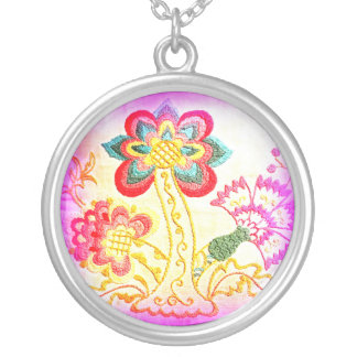 pink tropical palm tree necklace