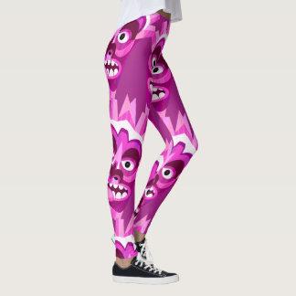 Pink Tropical Tiki Head Pattern Leggings