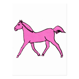 Pink Trotting Horse Postcard