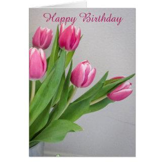 Pink Tulip Birthday Card