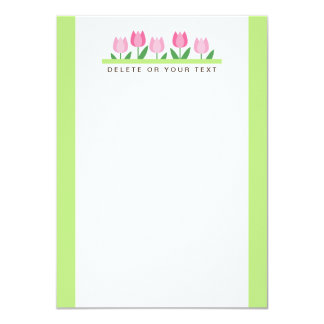 Pink tulip custom name or text flat note card personalized invitations