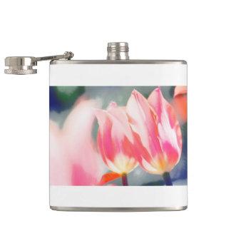 Pink Tulip Duo Sketch Hip Flask