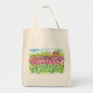 Pink Tulip Fields Watercolor Tote Bag
