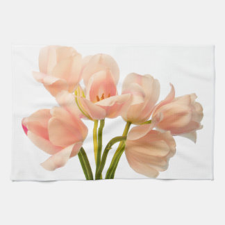 Pink Tulip Flower Peach Tulips White Floral Flower Tea Towel