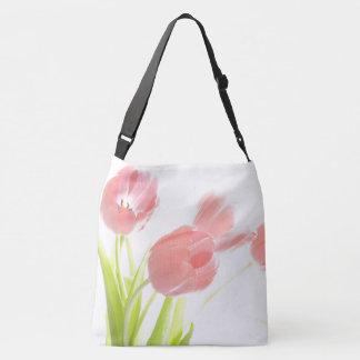 Pink tulip flower rockabilly white flower tote bag