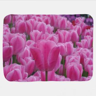 Pink Tulip Flowers Field Baby Blanket