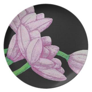 Pink Tulip Flowers Original Art Design Plates