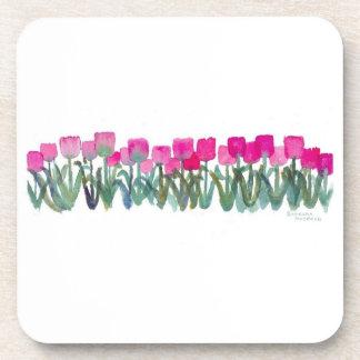 Pink Tulip Grove Plastic Coasters