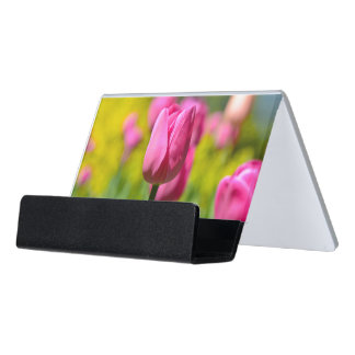 Pink Tulip in the Garden Desk Business Card Holder