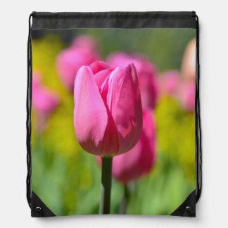 Pink Tulip in the Garden Drawstring Bag