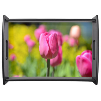 Pink Tulip in the Garden Serving Tray