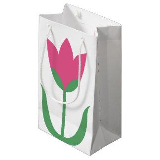 Pink Tulip Large Spring Flower Magenta Floral Small Gift Bag
