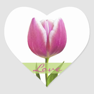 Pink Tulip Love Heart Wedding Envelope Seal Heart Sticker