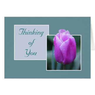 Pink Tulip On A Rainy Day Thinking of You Card