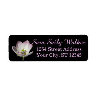 Pink Tulip on Black Return Address Label