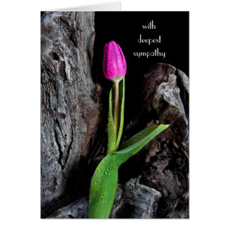 pink tulip on driftwood sympathy card
