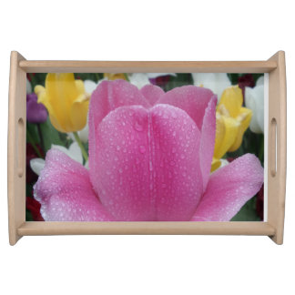 Pink Tulip w/Water Drops Serving Tray