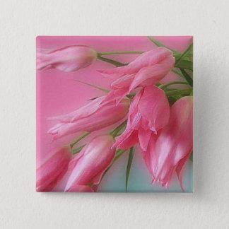 Pink Tulips 15 Cm Square Badge