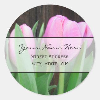 Pink Tulips Address Label Round Sticker