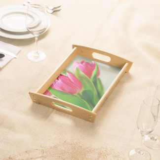 Pink Tulips Background Serving Tray