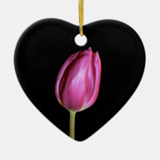 Pink Tulips Blank Background Flowers Floral Photos Ceramic Heart Decoration