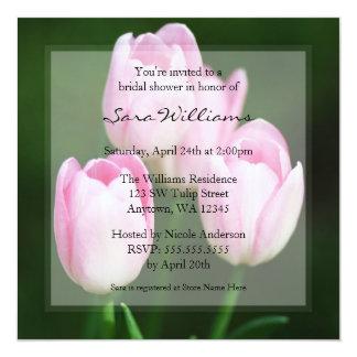 Pink Tulips Bridal Shower 13 Cm X 13 Cm Square Invitation Card