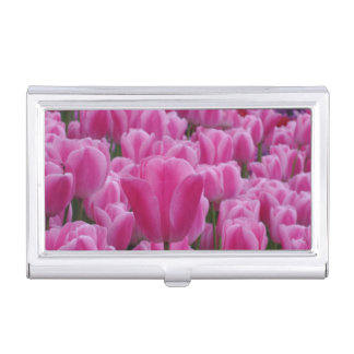 Pink Tulips Business Card Holder