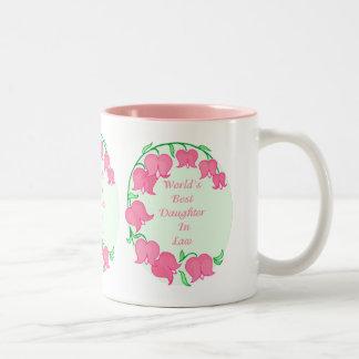 Pink Tulips Daughter in Law Two-Tone Coffee Mug