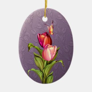 Pink Tulips Ceramic Oval Decoration