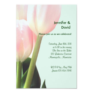 """Pink Tulips Engagement Announcement 4.5"""" X 6.25"""" Invitation Card"""