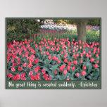 Pink Tulips Epictetus Quote Poster