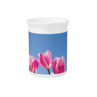 Pink tulips field with blue sky beverage pitchers