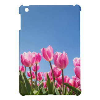 Pink tulips field with blue sky iPad mini cover