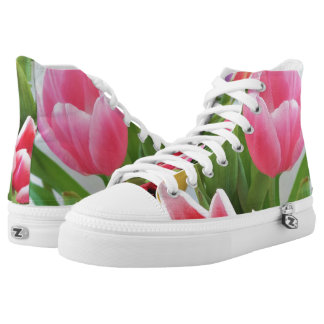 Pink Tulips Floral Photography Happy Springtime Printed Shoes