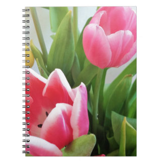 Pink Tulips, Floral Spring Bouquet, Flowers Spiral Notebook