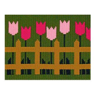 Pink Tulips Garden Wood Fence Green Crochet Print Postcard