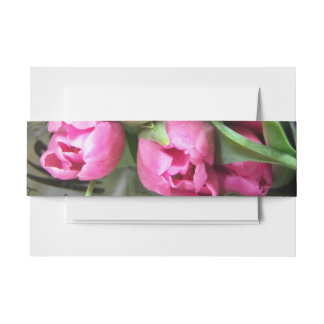Pink tulips invitation belly band