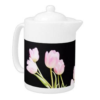 Pink Tulips On Black Tea Pot