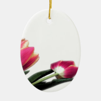 Pink Tulips Oval Hanging Ornament
