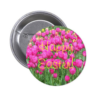Pink Tulips Photo Easter Button