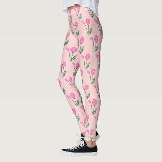 Pink Tulips Print Women's Leggings