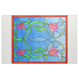 Pink Tulips Stained Glass Look Fabric