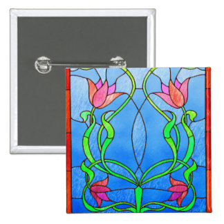 Pink Tulips Stained Glass Look Pinback Buttons